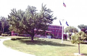 Leavitt Hall and World War II Veterans Memorial (2001)
