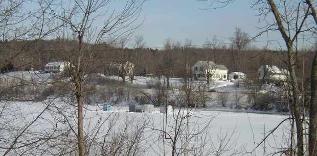 Ice-Fishing Shacks on the Kennebec River in Randolph (2003)
