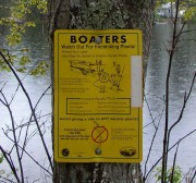"sign: ""Boaters Watch Out For Hitchhiking Plants!"" at Washington Pond in Washington (2003)"