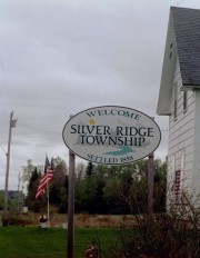 "sign: ""Welcome, Silver Ridge Township, Settled 1858"""