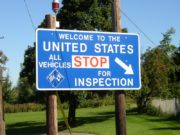Sign for the U.S. Customs Inspection Station on Route 167 in Fort Fairfield