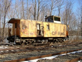 CP Rail Caboose in South Gardiner near the Kennebec River (2004)