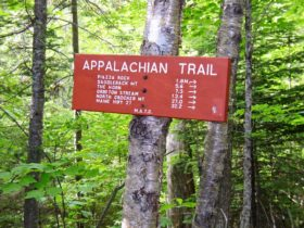 "sign: ""Appalachian Trail"" with distances to points of interest"