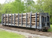 Railroad car with long logs in Fairfield (2006)