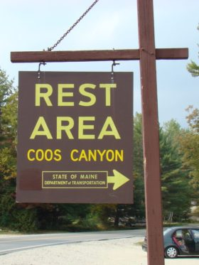 "sign: ""Rest Area, Coos Canyon, . . . ."" on Route 17 in Byron"