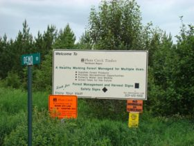 "Plum Creek Timber, Northeast Region, . . . ."" and other signs on Demo Road in Soldiertown Township (2008)"