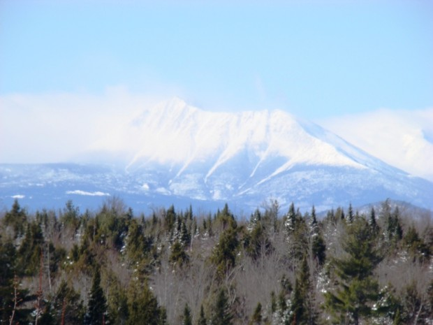 Snow Swept Mount Katahdin from Route 11 in Patten (2009)
