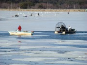 Quahog fisherman and ice fishing enthusiasts on the New Meadows River Pond (2010)