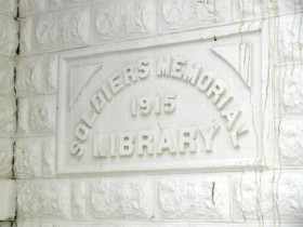 Sign: Soldiers Memorial Library (2010)