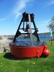 Bell buoy on land in Rockland Harbor