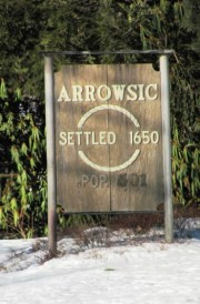 "Sign: ""Arrowsic, Settled 1650"""