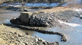 Remains of the dam at the site of the 1749 Tide Mill Grist Mill in Kennebunkport