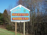 sign: Welcome to Baileyville Village of Woodland (2013)