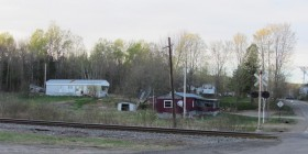 Mobile Homes at Railroad Crossing in Codyville along Route 6 (2013)