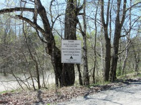 Sign Regarding Safe Driving on Fourth Lake Road in T6 ND BPP (2013)