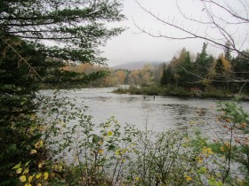 Two fishermen in the Dead River at Long Falls in T3 R4 BKP WKR (2013)
