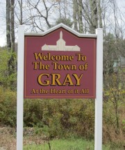 sign: Welcome to the Town of Gray