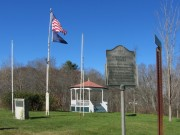 """Memorial Park in Durham for World War II Veterans and Joe Wier """"Indian Fighter"""" a the Intersection of Routes 9 and 136, and Ferry Road"""