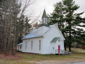 Masonic Building, probably former church, in Livermore , on Church Road (Route 108)