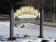 Sign for Lowell Town Office and Community Center on Route 188 (2014)