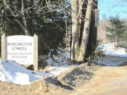 "sign: ""Burlington Lowell Transfer Recycling Station"" on Route 188 in Burlington (2014)"