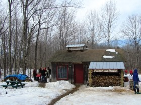 Visitors and Sugarhouse at Maine-iac Maple Farm in Richmond (2014)