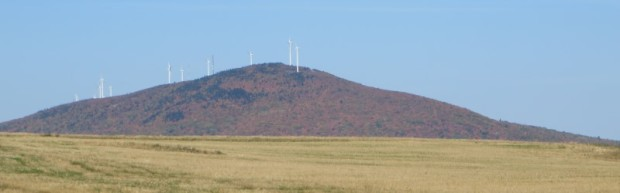 Mars Hill mountain with Wind Turbines from U.S. Route 1 in Blaine (2014)