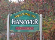 "Sign: ""Welcome to Hanover"" on U.S. Route 2 and Route 5 (2014)"