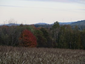 Wind Turbines on Mountains over a Corn Field in Rumford (2014)