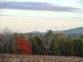 Wind Turbines on Mountains over a Corn Field in Rumford from Route 232 (2014)
