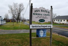 Asa Bates Memorial Chapel sign (2015)