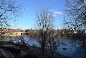 Androscoggin River and Lewiston Skyline from Main Street in Auburn