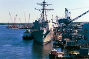 Ship and Cranes at Bath Iron Works (2000)