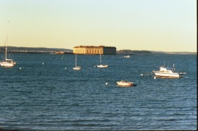 Fort Gorges and small boats in Portland Harbor (1999)