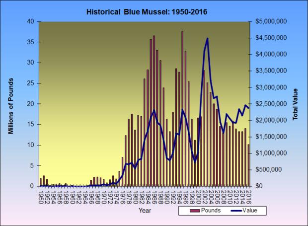Blue Mussels Historical Landings 1950-2016