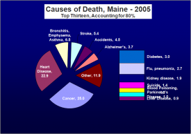 Chart: Causes of Death in Maine 2005