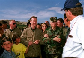 Secretary of Defense William S. Cohen (second from left) and Supreme Allied Commander Europe Gen. Wesley Clark (right)