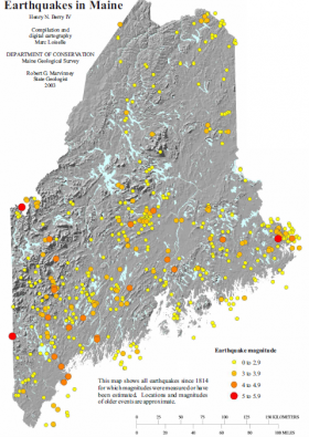 Earthquakes in Maine, Maine Geological Survey
