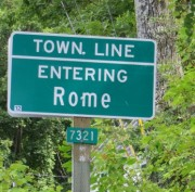 Sign: Town Line, Entering Rome
