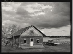 Log house occupied by French-Canadian potato farmer near Saint Agatha (1940)