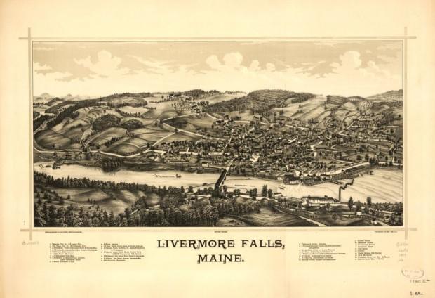 Livermore Falls Birdseye View 1889