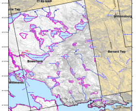 Map of Bowerbank: Timber Harvest Buffer Zones (2013)