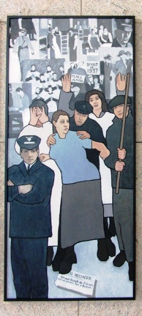 Portion of a Mural Depicting Maine Labor History in the Atrium of the Maine Cultural Building