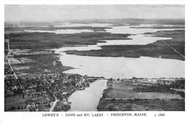 Lewey's, Long, and Big Lakes (c. 1940, postcard)