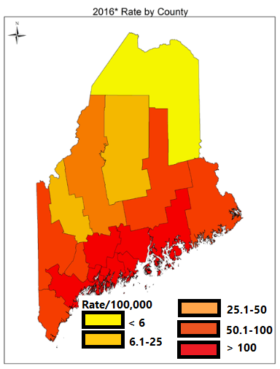 Rate of Lyme Disease Cases in Maine by County