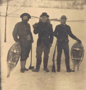 Hunting in Maine (left to right) Bill Sewall, Wilmot Dow and TR