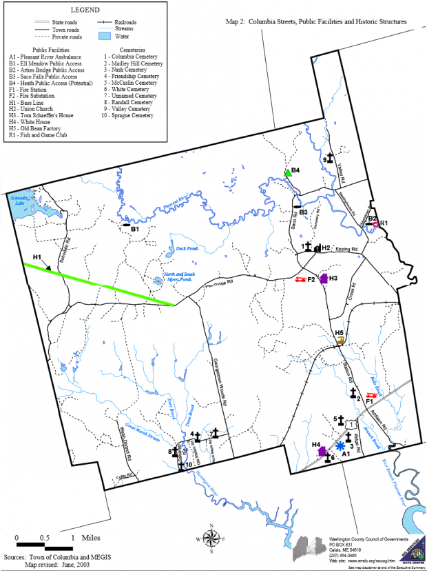 Map: Columbia Roads and Facilities (2003)