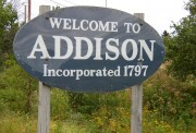 Sign: Welcome to Addison, Incorporated 1797