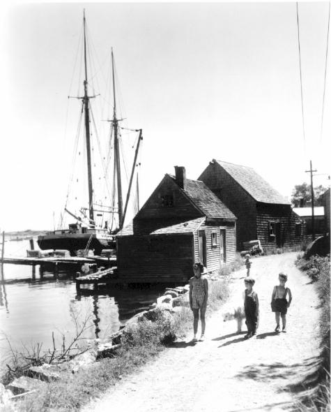 Schooner and Children at Stonington (c. 1940)