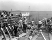 Marine carpenters in Rockland Harbor (c. 1940)